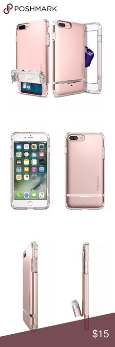iPhone 7 Plus Card Case The Spigen Flip Armour Case for the iPhone 7 Plus allows you to carry your phone with your credit cards discreetly hidden.   Air Cushion technology with dual layer protection for your phone.   Stores up to two cards.   Rose Gold-New in box. Accessories Phone Cases