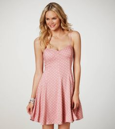 American Eagle has some of the cutest dresses at the most amazing price points. This Polka Dot Skater Corset Dress is no different! #COLORSOFSUMMER