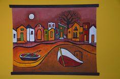 Batik, artesanía, regalos, Pintura en tela,artesana,envío a domicilio,exposición, Claudia: Pueblo marinero.