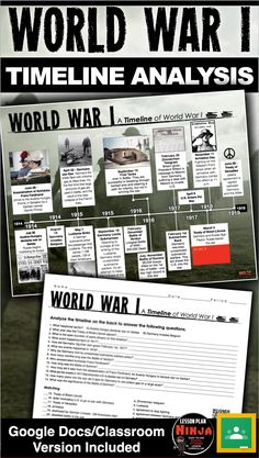 World War I Timeline takes your students to Europe from 1914 to Students analyze the timeline and complete a twenty question common core aligned worksheet. This assesses students on the history of the WWI as well as timeline analysis. An optional QR History Lesson Plans, World History Lessons, History Quotes, History Class, Women's History, Teaching Social Studies, Teaching History, Social Studies Notebook, Teaching Tools