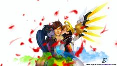 Tracer gets the double kiss 8D by FairlyLocalNow.deviantart.com on @DeviantArt