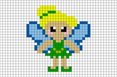 Tinkerbell Pixel Art from BrikBook.com #Tink #TinkerBell #Fantasy #fairy #Neverland #pixel #pixelart #8bit Shop more designs at http://www.brikbook.com