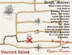 """INVITATION MAP WITH AN """"X"""" MARKING THE PARTY LOCATION"""
