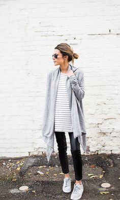 0a0b71514a7 Wear a simple striped top with cigarette trousers and a wrap around  cardigan to recreate this look by Christine Andrew.