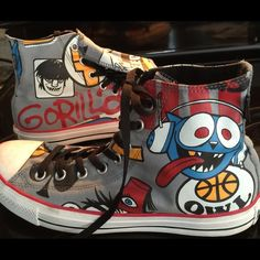 Gorillaz converse hi-tops 11 Graphic art . Gorillaz band. Pop art. Unisex and fabulous! Converse Shoes Sneakers
