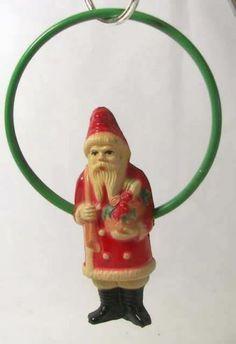 RARE Early Viscoloid Celluloid Santa Claus Green Ring Christmas Ornament 2520 | eBay
