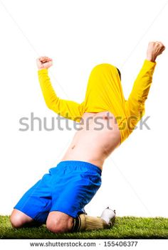 happy football or soccer player with jersey on his head isolated on white background