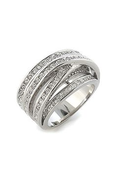 Ariella Collection Crossing Pavé Cubic Zirconia Ring available at #Nordstrom