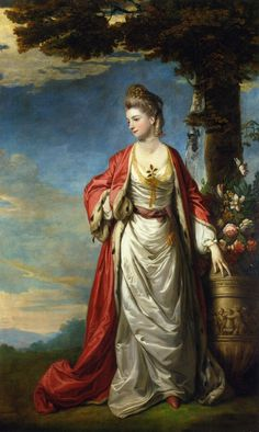 The Athenaeum - Mrs. Trecothick, Full Length, in 'Turkish' Masquerade Dress, Beside an Urn of Flowers, in a Landscape (Sir Joshua Reynolds - )