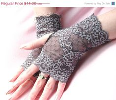 Lace Fingerless Gloves  Gorgeous gray grey by SeamstressbytheSea, $11.90