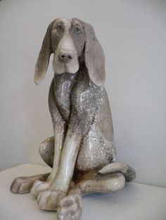 Large Sitting Raku Dog -Paul Jenkins