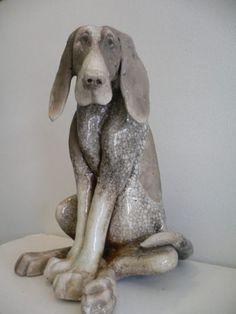Large Sitting Raku Dog -Paul Jenkins