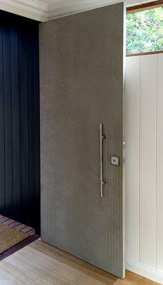 Carved Grid Door | Concrete Greige