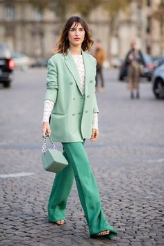Green fashion trend: Jeanne Damas wears mint green blazer and bag The specific shade of green that was everywhere at fashion week is set to be big for summer Shop our favorite pieces here. Fashion Week Paris, Summer Fashion Trends, Street Fashion, Spring Fashion, Casual Work Outfits, Chic Outfits, Spring Outfits, Fashion Outfits, Womens Fashion