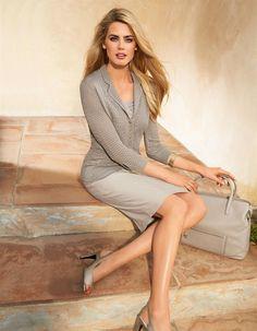 Ajour-Strickjacke in der Farbe grege - grau, hellbraun - im MADELEINE Mode Onlineshop