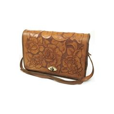 Tan Tooled Leather Rose Handbag with Twist Clasp - Vintage clothing... ❤ liked on Polyvore featuring bags, handbags, purses, accessories, tan leather purse, genuine leather purse, floral leather handbag, vintage leather handbags en tan purse