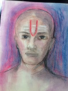Pastel drawing of Brahman priest with caste mark