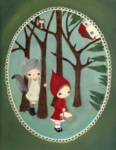 Art for their themed room, little red riding hood