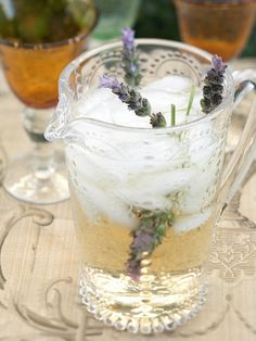 Lavender infused cocktail in beautiful glass jug