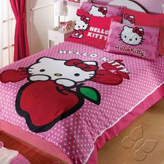This adorable duvet, comforter and bedskirt will add warmth and character to your bedroom. The central design of this bedding set features Hello Kitty with a yummy red apple. Flip over the duvet and you get a Hello Kitty wallpaper design - double the fun! Kawaii Bedroom, Cat Bedroom, Girls Bedroom, Bedroom Decor, Bedrooms, Hello Kitty Bedroom Set, Hello Kitty Rooms, Hello Kitty Games, Wonderful Day