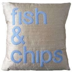 sand and blue dupion silk  Fish & Chips handmade appliqué cushion