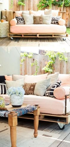 Hanging outdoor pallet bed...so pretty!!