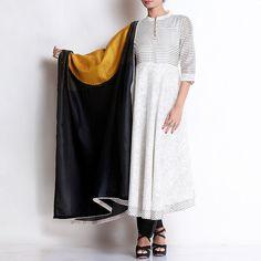 Off white Chanderi Block Printed Kurta With Pallazo & Patchwork Dupatta Indian Fashion, Womens Fashion, Kurta Designs Women, Online Fashion Stores, Saree Wedding, Off White, Fashion Accessories, Cold Shoulder Dress, Silk