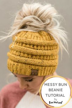 dd6145d05c599 Black Knitted Messy Bun Beanies Hat as seen on TODAY SHOW. Cute women s  ponytail hats from Three Bird Nest.