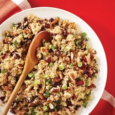 Maple Balsamic Quinoa Salad - 1 2/3c quinoa (rinsed),  1/3c olive oil, 1/3c balsamic vinegar, 1/3c maple syrup,  1c dried cranberries or cherries, 1c chopped pecans,  4 to 5 scallions (thinly sliced), 1t sea salt (use only 1/4c each of the liquids and don't add more at the end)