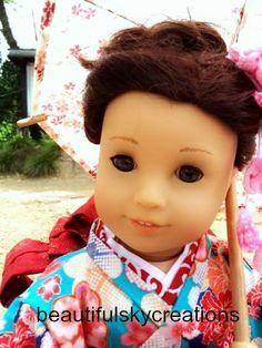 Custom American Girl Jess doll with hazel eyes wearing a custom made Japanese kimono and umbrella.  https://www.etsy.com/shop/BeautifulSkyCreation