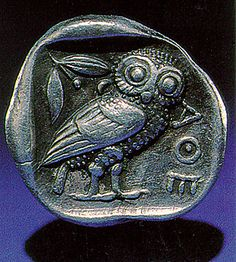 Ancient Greek coin: An Athenian tetradrachma from shortly after Pericles' time.  it says AOE!
