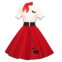 6 pc Adult 50's POODLE SKIRT Outfit Costume - Red #HipHop50sShop