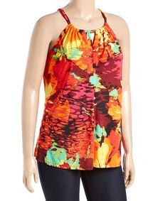 Loving this Orange & Red Abstract Tie-Back Halter Top - Plus on #zulily! #zulilyfinds