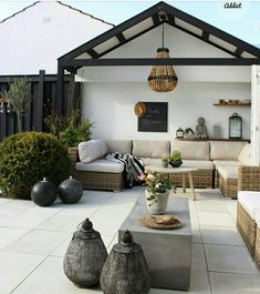 modern rustic patio seating area Bohemian vibe White terrace Black accents Romantic and cozy relaxing vibe Backyard Seating, Backyard Patio Designs, Outdoor Seating Areas, Patio Ideas, Pergola Ideas, Pergola Kits, Outside Seating Area, Backyard Beach, Backyard Landscaping