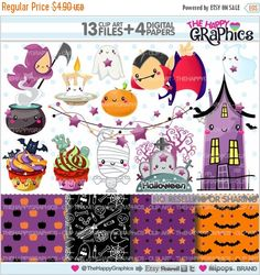 80%OFF - BIG SALE Halloween Clipart, Halloween Graphics, Commercial Use, Kawaii Clipart, Halloween Party, Planner Accessories, Pumpkin, Hall