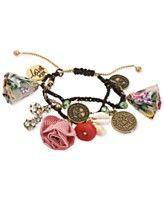 Betsey Johnson Gold-Tone Shaky Coin and Fabric Flower Macrame Friendship Bracelet