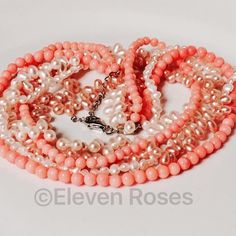 "Coral & Pearl 5 Strand Statement Choker Necklace Coral & Pearl Multi Strand Torsade Statement Choker Necklace - 925 Sterling Silver Clasp - 3 Pearl & 2 Coral Beaded Strands - Measures Approx 18"" Long, With Extension Chain - Hallmarked; 925, LH Jewelry Necklaces"
