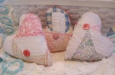 Collection of Three Vintage Quilt Heart Sachets  by PerfectPieLady, $18.00