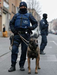 Belgian police officer with belgian Malinois.