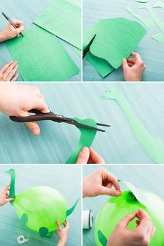 Use construction paper to turn plain balloons into prehistoric pals for you little one's birthday bash. - Reyhane Sonmez - - Use construction paper to turn plain balloons into prehistoric pals for you little one's birthday bash. Dinosaur Birthday Party, 4th Birthday Parties, Birthday Party Decorations, Dinosaur Party Games, Dinosaur Party Decorations, Elmo Party, Turtle Birthday, Nye Party, Turtle Party