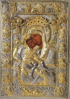 "Icon of the Mother of God ""Axion Estin,"" preserved in the Church of the Protaton in Karyes on Mount Athos Religious Icons, Religious Art, Paintings Of Christ, Flat Picture, Pictures Of Christ, Russian Icons, Blessed Mother Mary, Madonna And Child, Papa Francisco"