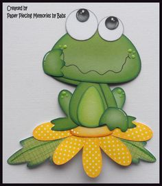 Frog on Flower Premade Paper Piecing Die Cut for Scrapbook Page byBabs created by Paper Piecing Memories by Babs Crafts For Kids, Arts And Crafts, Paper Crafts, Diy Crafts, Clipart, Frog Crafts, Punch Art, Kids Cards, Paper Piecing