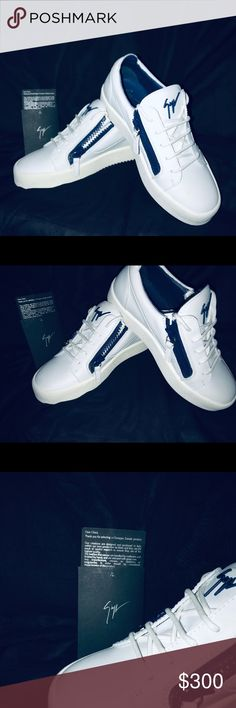 9f33ae2f96565 Giuseppe Zanotti Shoes Giuseppe Zanotti Blue & White Frankie These low-top  sneakers are made