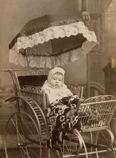 Antique Photograph  Baby in very fancy carriage.