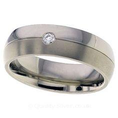 Geti Split Titanium and Diamond Ring