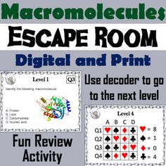 biology pictures This breakout escape room is a fun way for students to test their knowledge of the different types of macromolecules. Biology Lessons, Ap Biology, Teaching Biology, Science Lessons, Science Education, Life Science, Forensic Science, Higher Education, Biology Review