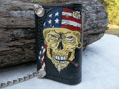 Hand Tooled Leather Chain Wallet For Bikers and by POPSLEATHERSHOP