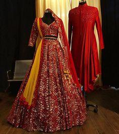 Pink bridal lehenga with mathing sherwani image 4 Indian Bridal Outfits, Indian Bridal Fashion, Indian Designer Outfits, Designer Dresses, Pink Bridal Lehenga, Red Lehenga, Lehenga Choli, Bridal Gowns, Couple Wedding Dress