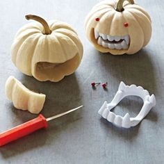 Pumpkin carving idea with Halloween fangs
