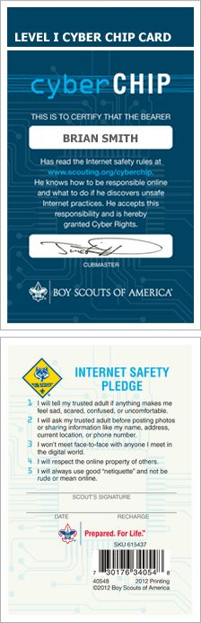 Resources for Scouts to earn the Cyber Chip Card after learning about Internet Safety using NetSmartz.